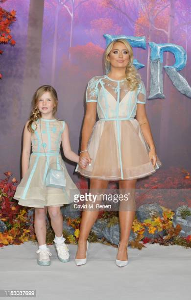 """Saffron Barker attends the European Premiere of """"Frozen 2"""" at the BFI Southbank on November 17, 2019 in London, England."""