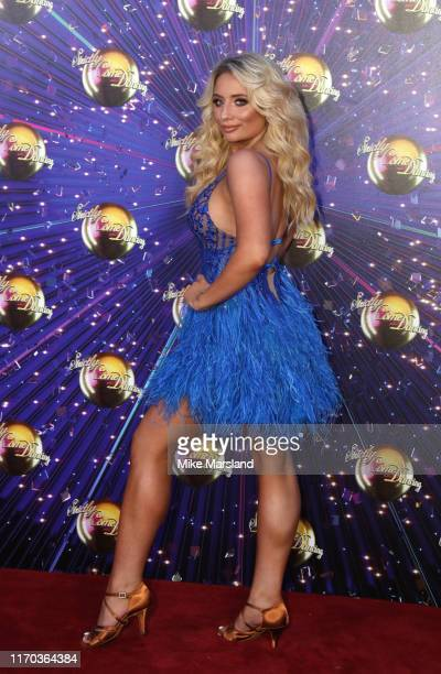 """Saffron Barker attends the """"Strictly Come Dancing"""" launch show red carpet at Television Centre on August 26, 2019 in London, England."""