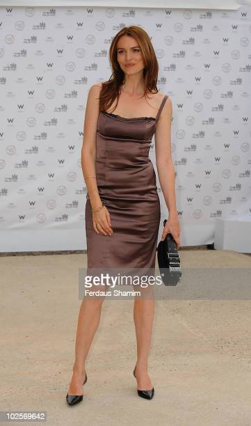 Saffron Burrows attends the Summer fundraising party for The Old Vic Theatre at Battersea Power station on July 1, 2010 in London, England.
