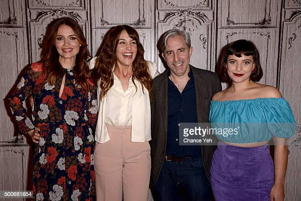 Saffron Burrows Lola Kirke Paul Weitz and Hannah Dunne attend AOL BUILD Series 'Mozart in the Jungle' at AOL Studios in New York on December 9 2015...