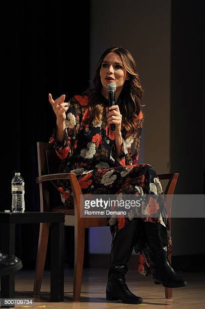 Saffron Burrows speaks at The SAGAGTRA Foundation's Conversations Series Presents 'Mozart In The Jungle' at The New School on December 9 2015 in New...