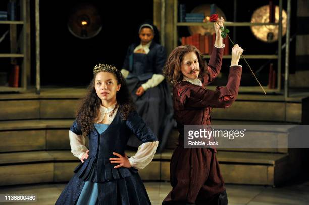 Saffron Coomber as Emilia 1 and Charity Wakefield as William Shakespeare in Shakespeare Globe'u2019s production Emilia directed by Nicole Charles at...