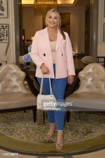 Saffron Lempriere attends afternoon tea at Corinthia Hotel London in aid of Breast Cancer Now hosted by Angie Greaves and Concorde Media.