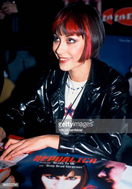 Saffron of Republica backstage at the Cow Palace on December 15 1996 in San Francisco California
