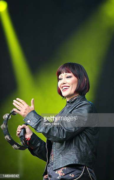 Saffron of Republica performs at Guilfest at Stoke Park on July 14 2012 in Guildford England