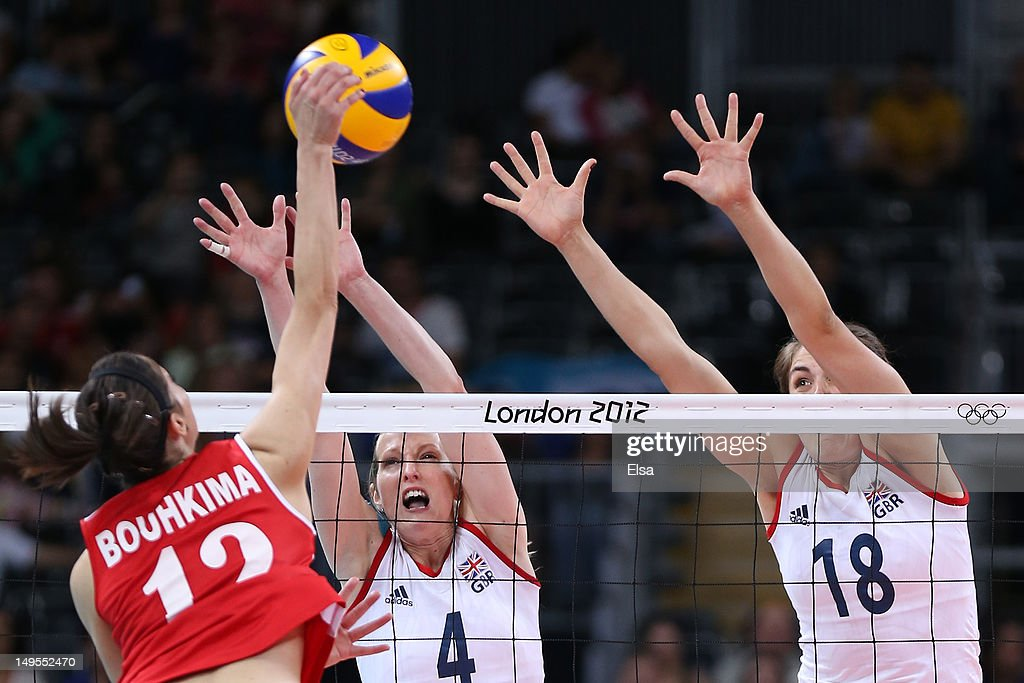 Safia Boukhima of Algeria spikes the ball in the Women's Volleyball Preliminary match between Great Britain and Algeria on Day 3 of the London 2012 Olympic Games at Earls Court on July 30, 2012 in London, England.