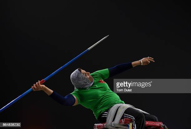 Safia Djelal of Algeria competes in Javelin Wheelchair Women final during the 9th Fazza International IPC Athletics Grand Prix Competition World Para...