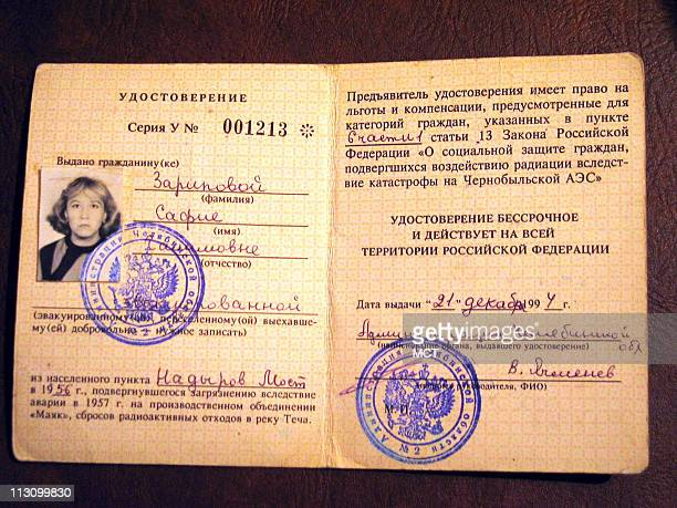 Safia Skaripova's card that identifies her as a victim of radiation She grew up along the Techa River where for decades the Mayak nuclear plant...