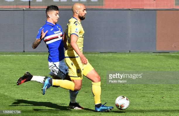 Safian Amrabat of Hellas Verona and Fabio Depaoli of UC Sampdoria during the Serie A match between UC Sampdoria and Hellas Verona at Stadio Luigi...