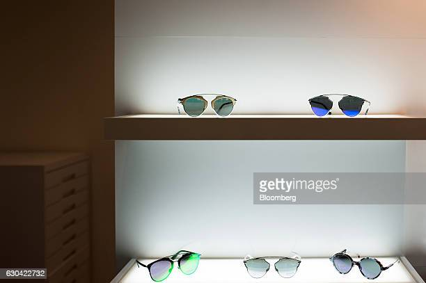 Safilo Group SpA Christian Dior brand sunglasses sit on display in a showroom at the company's office in New York US on Friday Dec 16 2016 Safilo...