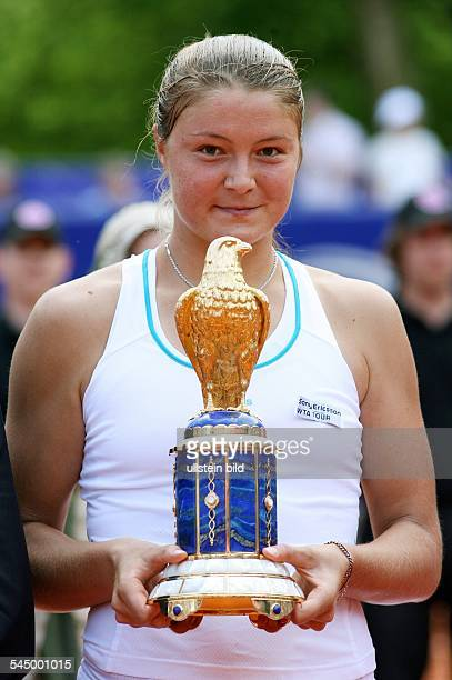 Safina Dinara Tennis Player Russia holding trophy after winning Qatar Telecom German Open in Berlin