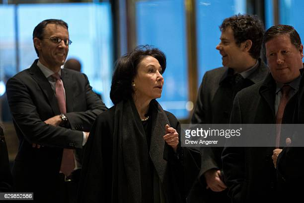Safra Catz chief executive officer of Oracle arrives at Trump Tower December 14 2016 in New York City This is the first major meeting between...