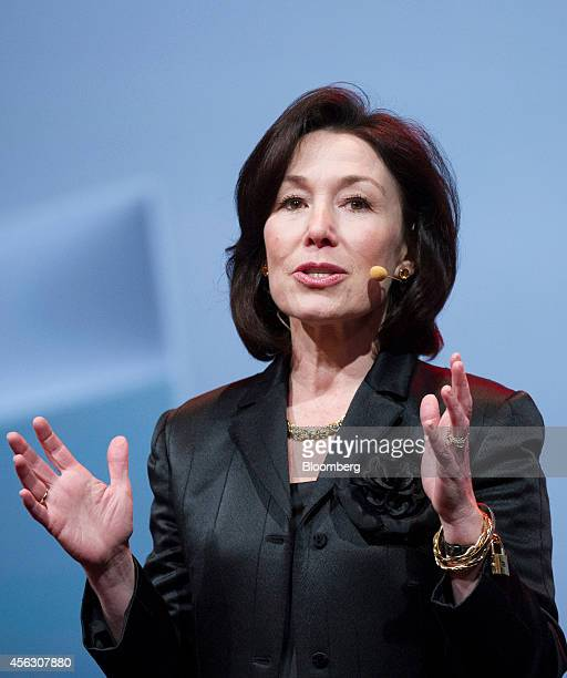 Safra Catz cochief executive officer of Oracle Corp gestures as she speaks during the Oracle OpenWorld 2014 conference in San Francisco California US...