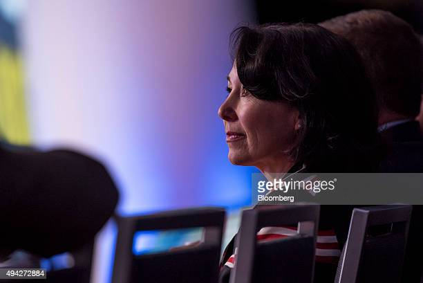 Safra Catz cochief executive officer of Oracle Corp listens to a presentation during the Oracle OpenWorld 2015 conference in San Francisco California...