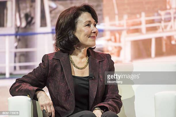 Safra Catz cochief executive officer of Oracle Corp listens to a presentation during the Oracle OpenWorld 2016 conference in San Francisco California...
