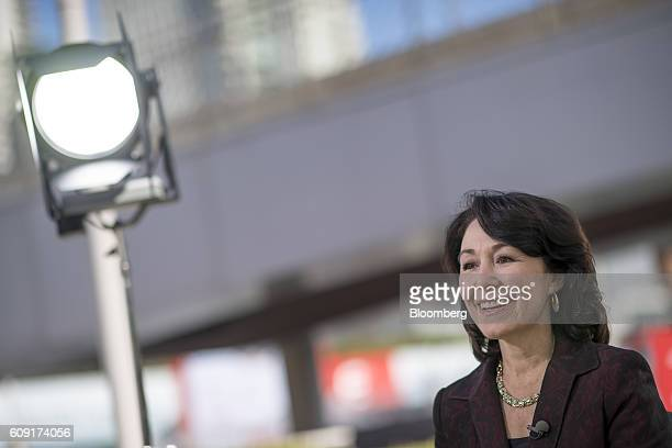 Safra Catz cochief executive officer of Oracle Corp smiles during a Bloomberg Television interview at the Oracle OpenWorld 2016 conference in San...