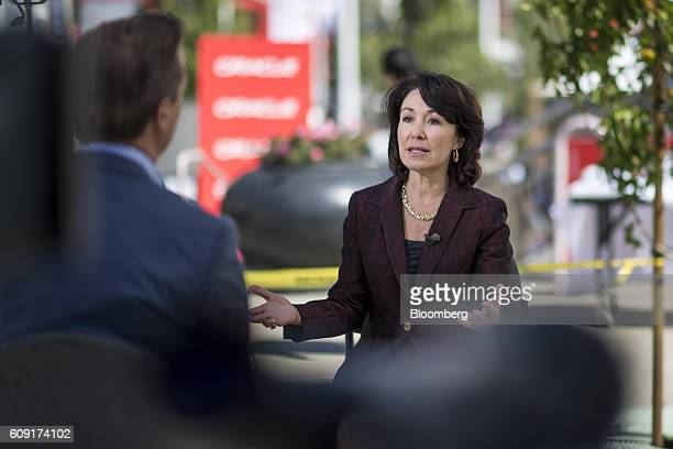 Safra Catz cochief executive officer of Oracle Corp speaks during a Bloomberg Television interview at the Oracle OpenWorld 2016 conference in San...