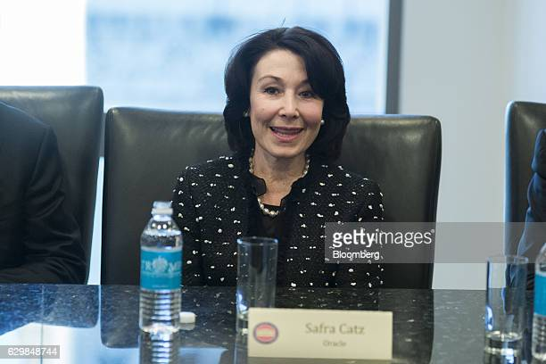 Safra Catz cochief executive officer of Oracle Corp speaks during a meeting with US Presidentelect Donald Trump and technology leaders at Trump Tower...
