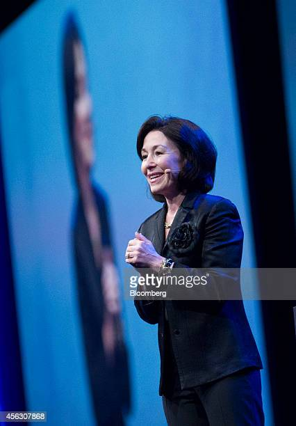 Safra Catz cochief executive officer of Oracle Corp speaks during the Oracle OpenWorld 2014 conference in San Francisco California US on Sunday Sept...