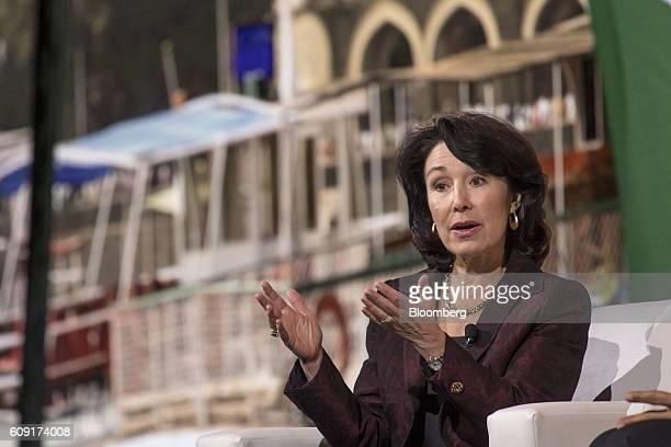 Safra Catz cochief executive officer of Oracle Corp speaks during the Oracle OpenWorld 2016 conference in San Francisco California US on Tuesday Sept...