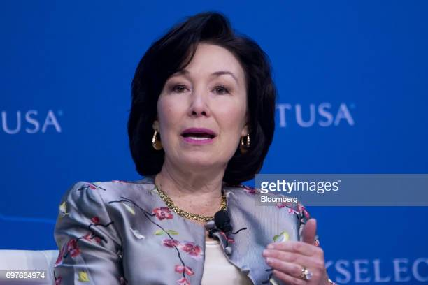 Safra Catz cochief executive officer of Oracle Corp speaks during the SelectUSA Investment Summit in Oxon Hill Maryland US on Monday June 19 2017 The...