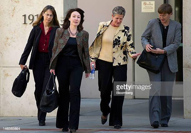 Safra Catz copresident and chief financial officer of Oracle Corp second left exits superior court in San Jose California US on Tuesday June 18 2012...