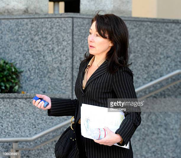 Safra Catz copresident of Oracle Corp exits federal court after testifying in a copyright infringement case in Oakland California US on Monday Nov 8...