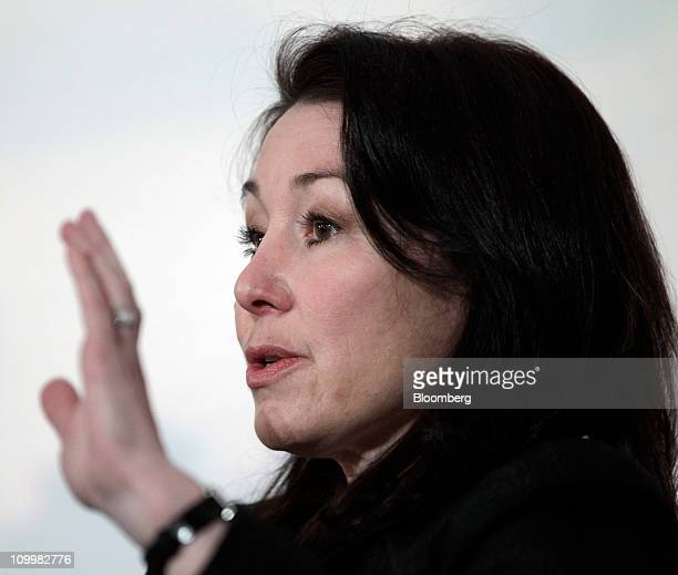 Safra Catz copresident of Oracle Corp speaks during a panel discussion at Stanford University's SIEPR Economic Summit in Palo Alto California US on...