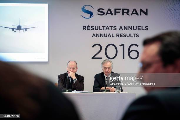 Safran CEO Philippe Petitcolin and CFO Bernard Delpit give a press conference to present the group's 2016 results at the company's headquarters in...