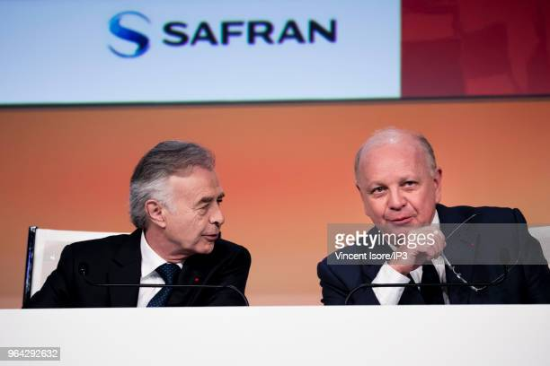 Safran CEO Philippe Petitcolin and Safran Chairman of the Board Ross McInnes attend the French aeronautic and aerospace supplier Safran general...