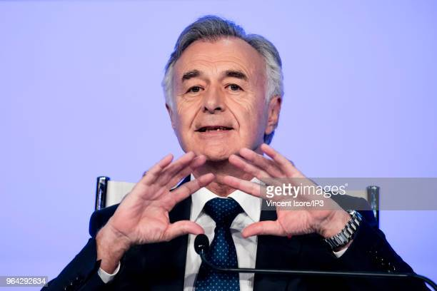 Safran CEO Philippe Petitcolin attends the French aeronautic and aerospace supplier Safran general shareholders meeting on May 25 2018 in Paris...