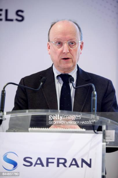 Safran CFO Bernard Delpit gives a press conference to present the group's 2016 results at the company's headquarters in Paris on February 24 2017 /...