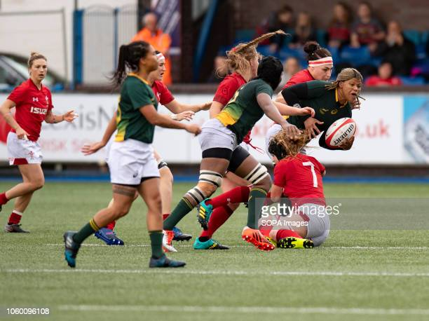 Africa Aseza Hele in action during Wales Women v South Africa Women Autumn Internationals at Cardiff Arms Park Cardiff United Kingdom Wales defeated...