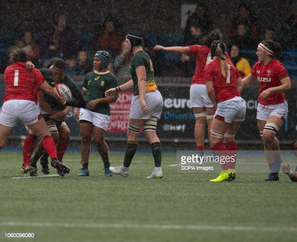 Africa Sinazo Mcatshulwa in action during Wales Women v South Africa Women Autumn Internationals at Cardiff Arms Park Cardiff United Kingdom Wales...