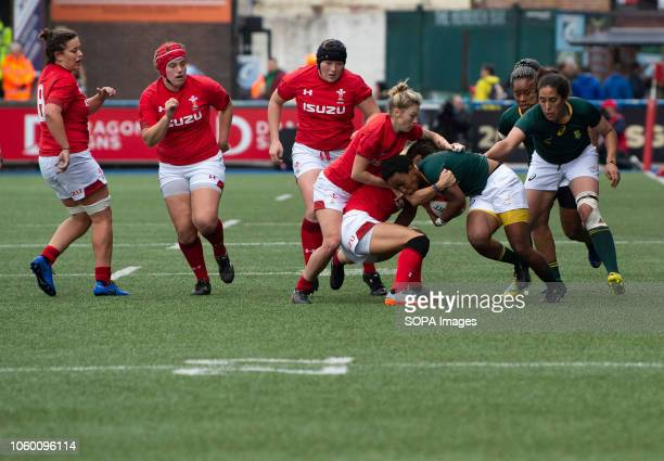 Africa Snenhlanhla Shozi in action during Wales Women v South Africa Women Autumn Internationals at Cardiff Arms Park Cardiff United Kingdom Wales...