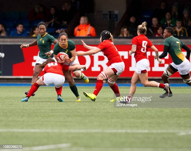Africa Tayla Kinsey in action during Wales Women v South Africa Women Autumn Internationals at Cardiff Arms Park Cardiff United Kingdom Wales...