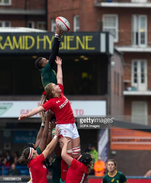 Africas Sinazo Mcatshulwa in action during Wales Women v South Africa Women Autumn Internationals at Cardiff Arms Park Cardiff United Kingdom Wales...