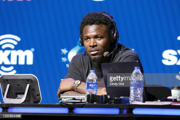 Saftey Xavier Woods of the Dallas Cowboys speaks onstage during day 1 with SiriusXM at Super Bowl LIV on January 29, 2020 in Miami, Florida.