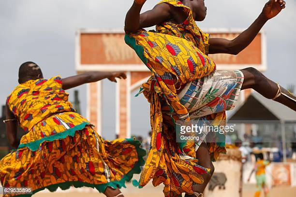Sag bata devotees dancing at the Ouidah voodoo festival