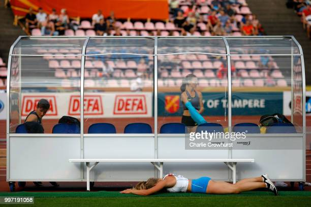 Saga Andersson of Finland reacts during the final of the women's pole vault on day three of The IAAF World U20 Championships on July 12 2018 in...