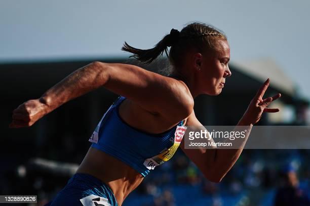 Saga Vanninen of Finland competes in the Heptathlon 200m during European Athletics U20 Championships Day 1 at Kadriorg Stadium on July 15, 2021 in...