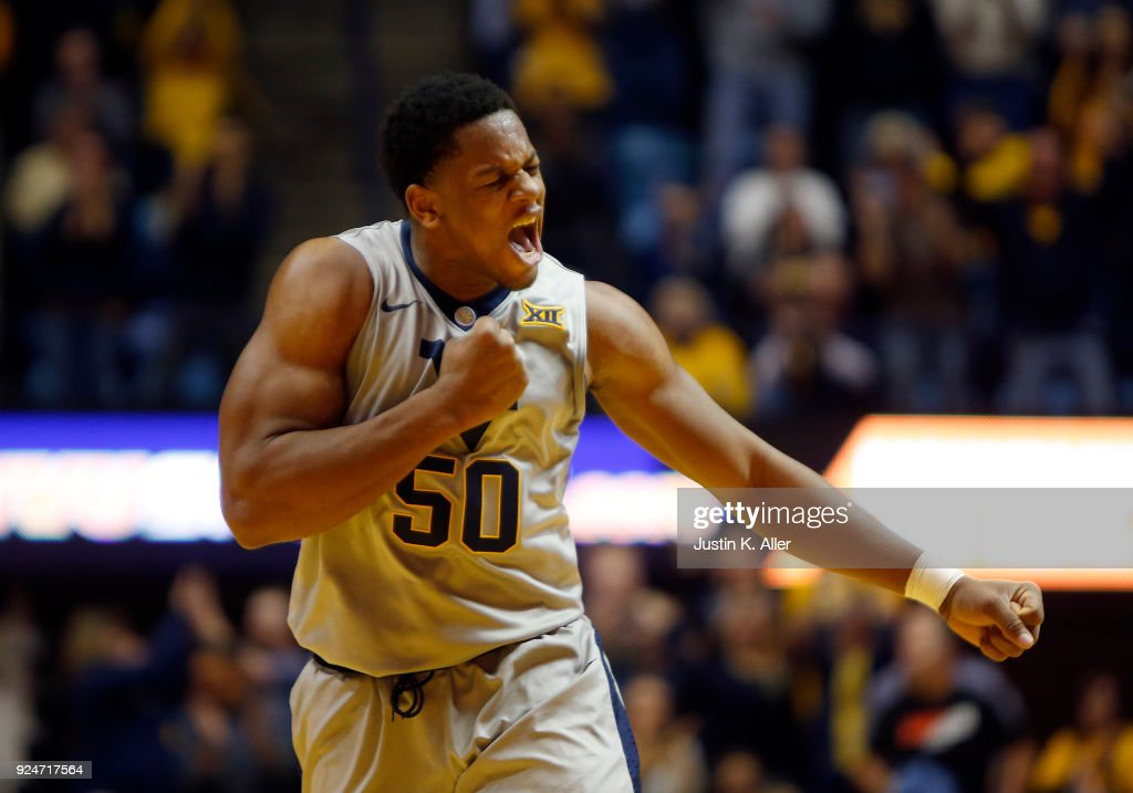 Sagaba Konate #50 of the West Virginia Mountaineers reacts in the first half against the Texas Tech Red Raiders at the WVU Coliseum on February 26, 2018 in Morgantown, West Virginia.