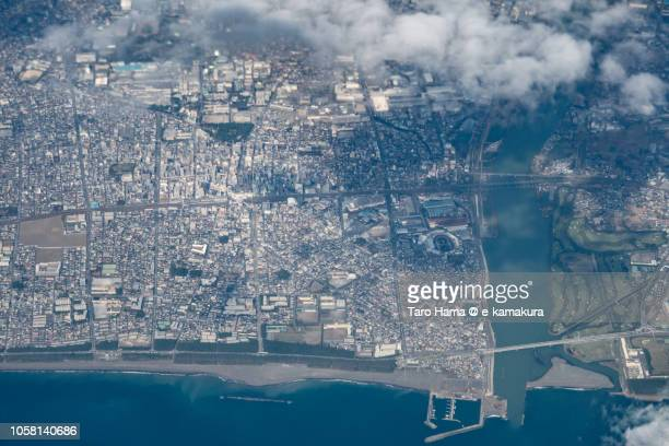 sagami bay and hiratsuka city in kanagawa prefecture in japan daytime aerial view from airplane - 平塚市 ストックフォトと画像