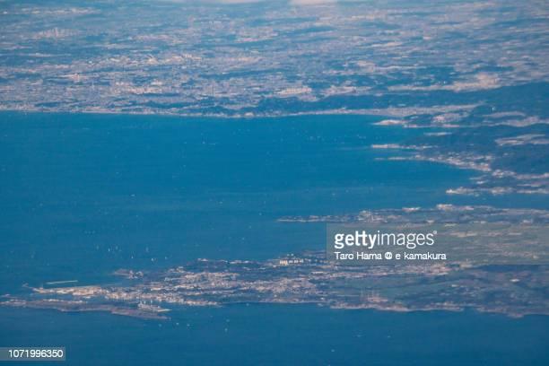Sagami Bay, and Miura, Yokosuka and Zushi cities in Kanagawa prefecture in Japan daytime aerial view from airplane