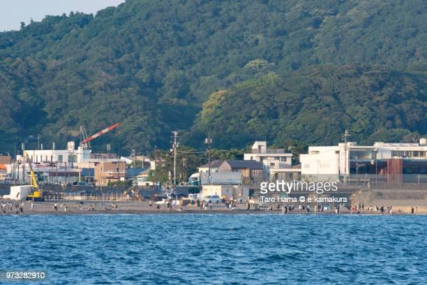 Sagami Bay and Yuigahama Beach in Kamakura in Kanagawa in Japan