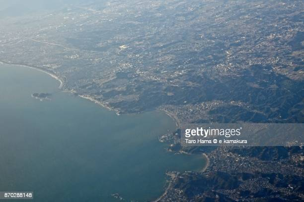 Sagami Bay, Kamakura and Zushi cities in Kanagawa prefecture daytime aerial view from airplane