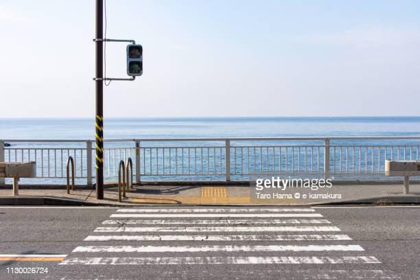 Sagami Bay, Pacific Ocean and pedestrian by the sea in Yokosuka city in Kanagawa prefecture in Japan