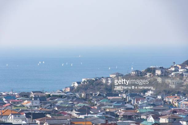 Sagami Bay, Pacific Ocean and residential district by the sea in Kamakura city in Kanagawa prefecture in Japan
