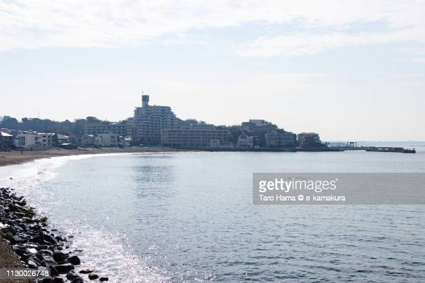 Sagami Bay, Pacific Ocean and residential district by the sea in Yokosuka city in Kanagawa prefecture in Japan