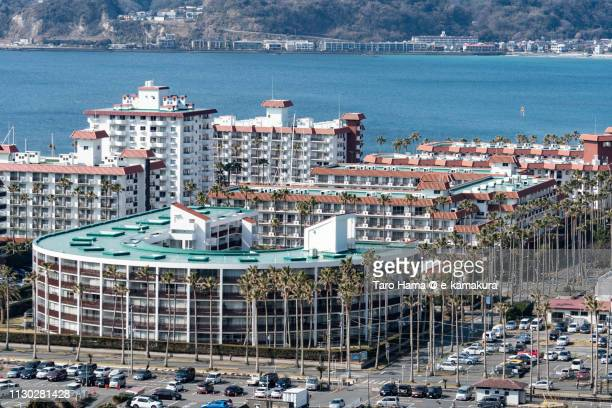 Sagami Bay, Pacific Ocean and residential district by the sea in Zushi city in Kanagawa prefecture in Japan